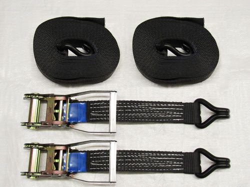 X2 Black 50MM 3M 5 Ton Ratchet Straps - Claw Hook 5000KG Metre Tie Down J Lashing